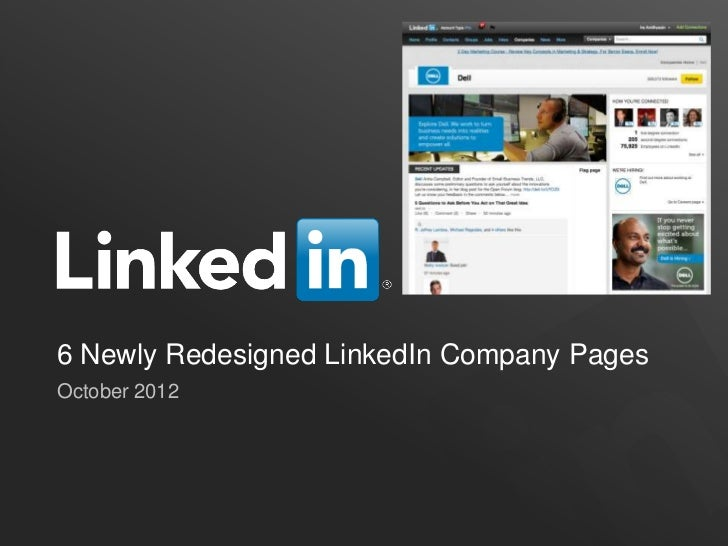 6 Newly Redesigned LinkedIn Company PagesOctober 2012
