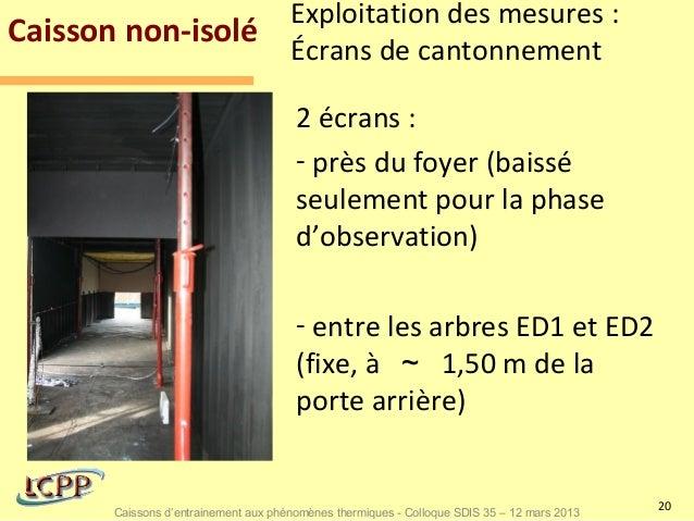 Exploitation des mesures :Caisson non-isolé                                      Écrans de cantonnement                   ...