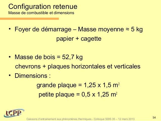 Configuration retenueMasse de combustible et dimensions• Foyer de démarrage – Masse moyenne ≈ 5 kg               papier + ...