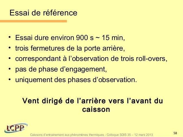Essai de référence•   Essai dure environ 900 s ~ 15 min,•   trois fermetures de la porte arrière,•   correspondant à l'obs...