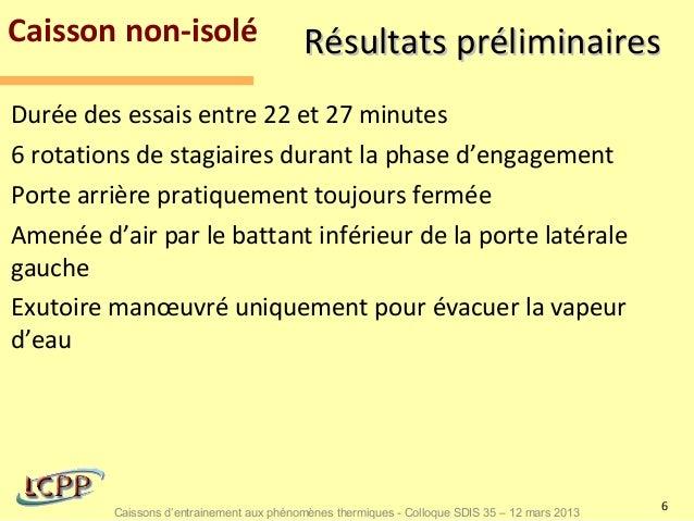 Caisson non-isolé                         Résultats préliminairesDurée des essais entre 22 et 27 minutes6 rotations de sta...