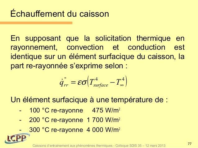 Échauffement du caissonEn supposant que la solicitation thermique enrayonnement, convection et conduction estidentique sur...