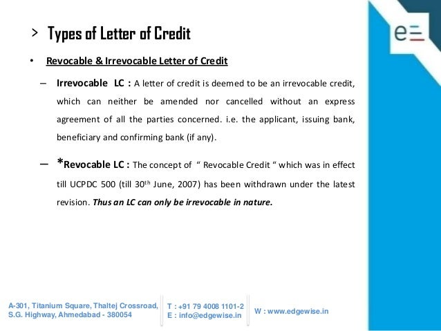Letter of Credit LC Presentation