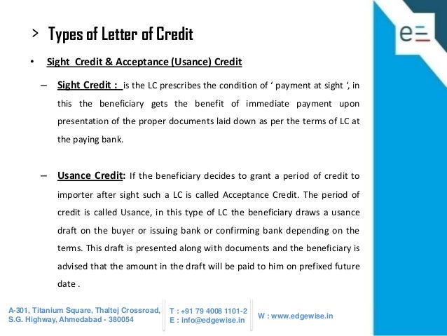 Letter of credit lc presentation for Letter of credit draft template