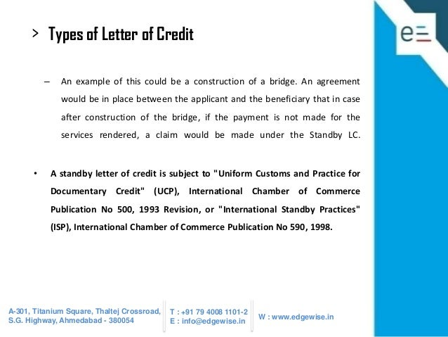 26 types of letter of credit an example