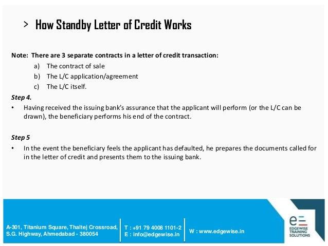 Letter of Credit LC Presentation – Credit Note Letter