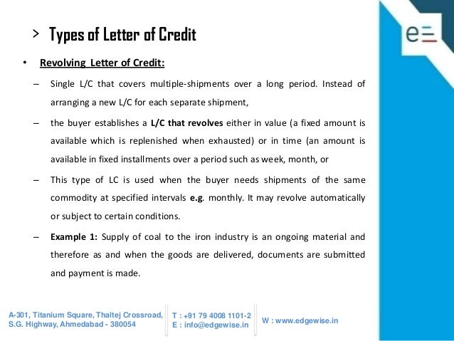 31 types of letter of credit