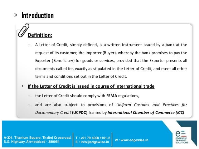 4 introduction definition a letter of credit