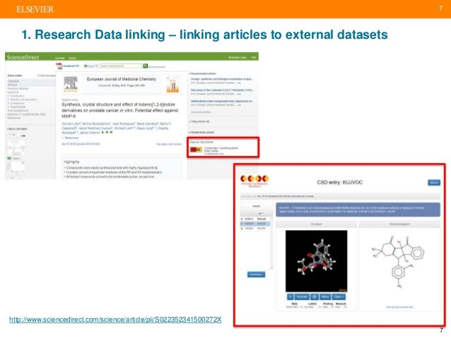 7 1. Research Data linking – linking articles to external datasets http://www.sciencedirect.com/science/article/pii/S02235...