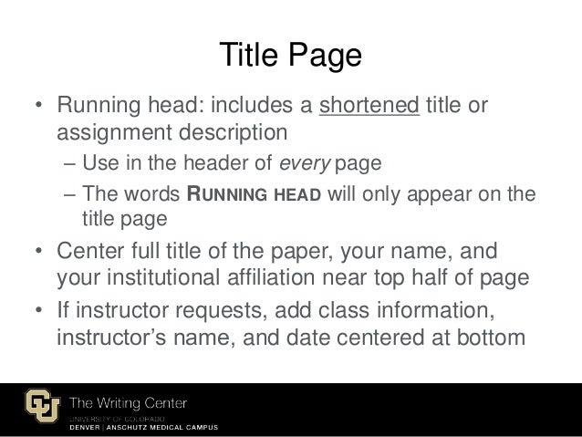 apa title page format 2015