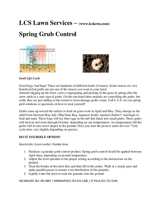 LCS Lawn Services – (www.lcslawn.com) Spring Grub Control  Grub Life Cycle Good bugs, bad bugs! There are hundreds of diff...