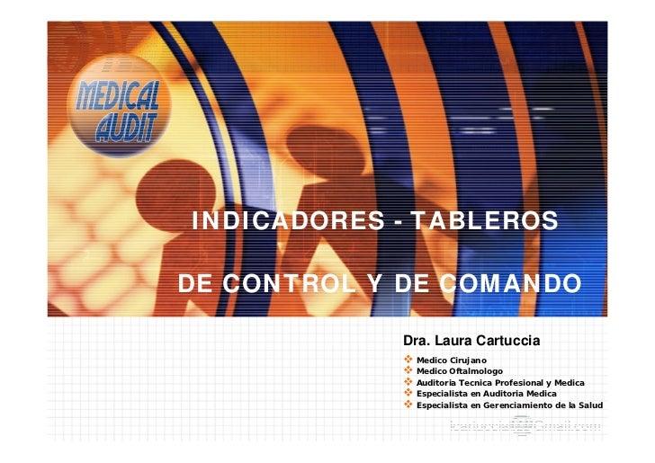 INDICADORES - TABLEROS  DE CONTROL Y DE COMANDO              Dra. Laura Cartuccia              Medico Cirujano           ...