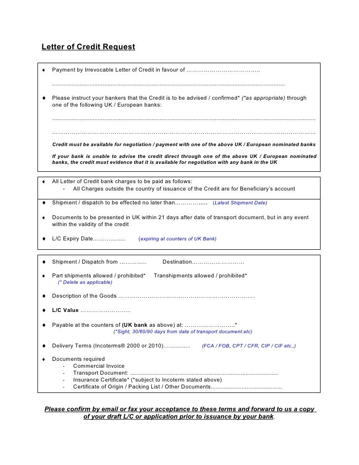 letter of credit template