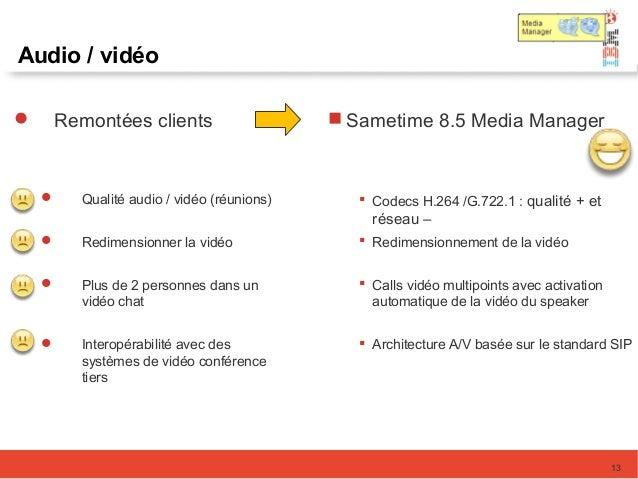 Audio / vidéo  Remontées clients  Qualité audio / vidéo (réunions)  Redimensionner la vidéo  Plus de 2 personnes dans ...