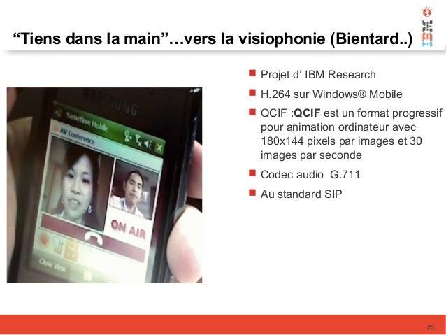 """""""Tiens dans la main""""…vers la visiophonie (Bientard..) 20  Projet d' IBM Research  H.264 sur Windows® Mobile  QCIF :QCIF..."""