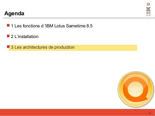 30 Agenda  1 Les fonctions d 'IBM Lotus Sametime 8.5  2 L'installation  3 Les architectures de production
