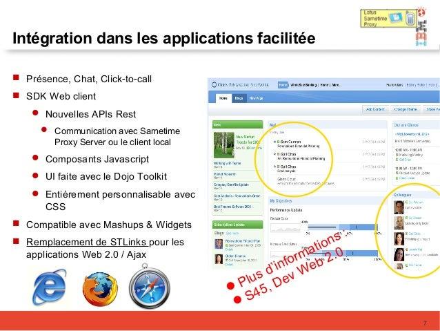 Intégration dans les applications facilitée  Présence, Chat, Click-to-call  SDK Web client  Nouvelles APIs Rest  Commu...