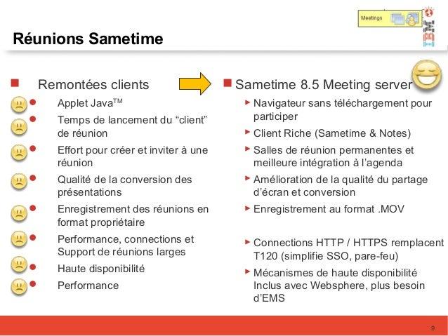 Réunions Sametime  Sametime 8.5 Meeting server  Navigateur sans téléchargement pour participer  Client Riche (Sametime ...