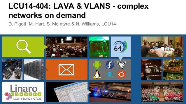 LCU14-404: LAVA & VLANS - complex  networks on demand  D. Pigott, M. Hart, S. McIntyre & N. Williams, LCU14  LCU14 BURLING...