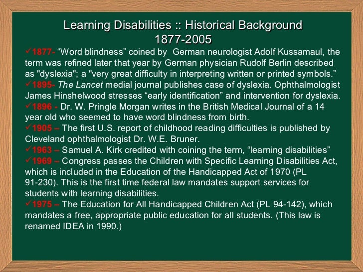 essay on learning disabilities Mcnamara (1995), lda (learning disabilities association of america) believes that the placement of all children with disabilities in the regular education classroom is as great a violation of idea as is the placement of all children in separate classrooms on the basis of their disability.