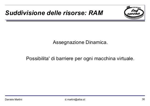 30Daniele Martini d.martini@alba.st Suddivisione delle risorse: RAM Assegnazione Dinamica. Possibilita' di barriere per og...