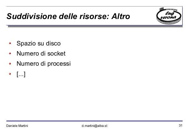 31Daniele Martini d.martini@alba.st Suddivisione delle risorse: Altro Spazio su disco Numero di socket Numero di processi ...