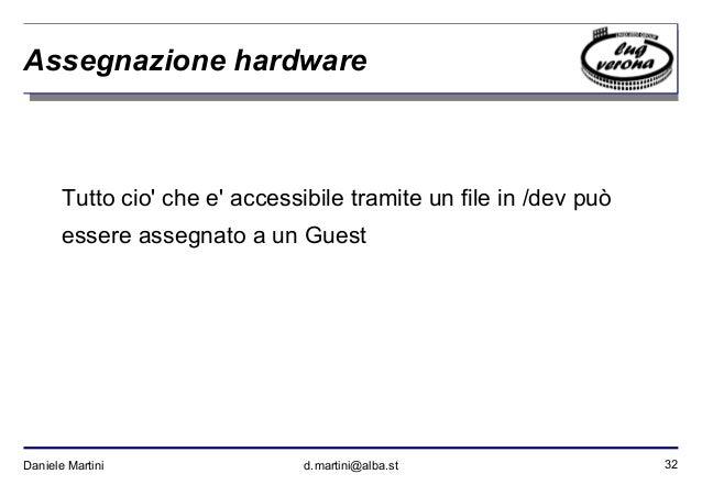 32Daniele Martini d.martini@alba.st Assegnazione hardware Tutto cio' che e' accessibile tramite un file in /dev può essere...