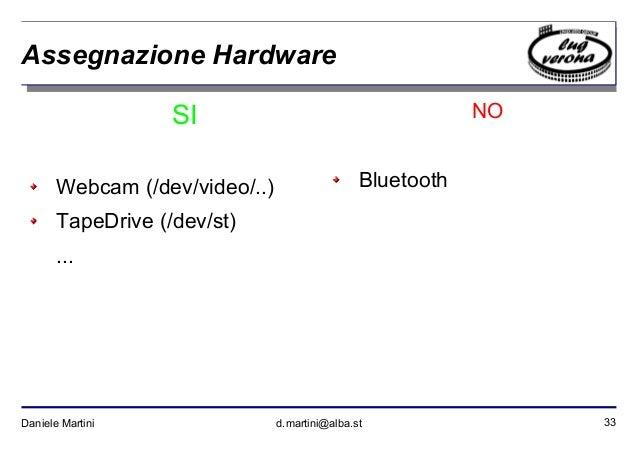 33Daniele Martini d.martini@alba.st Assegnazione Hardware SI Webcam (/dev/video/..) TapeDrive (/dev/st) ... NO Bluetooth