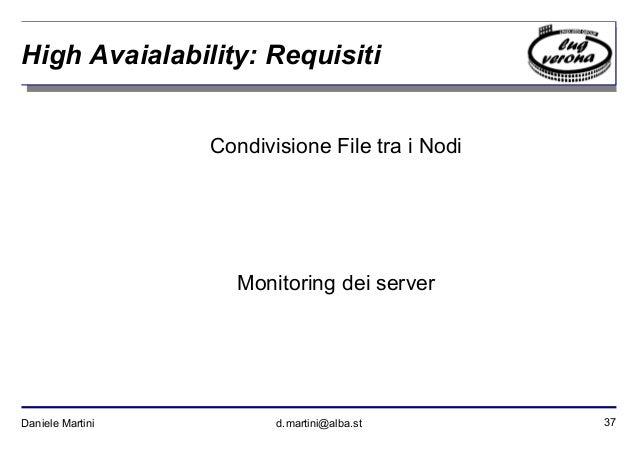 37Daniele Martini d.martini@alba.st High Avaialability: Requisiti Condivisione File tra i Nodi Monitoring dei server