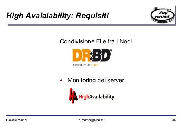 38Daniele Martini d.martini@alba.st High Avaialability: Requisiti Condivisione File tra i Nodi Monitoring dei server