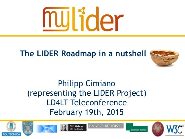 20/11/2014 ‹Nº›Presenter name The LIDER Roadmap in a nutshell Philipp Cimiano (representing the LIDER Project) LD4LT Telec...