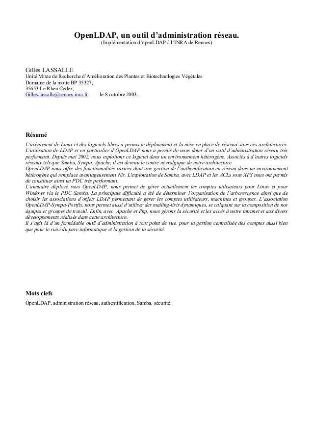 OpenLDAP, un outil d'administration réseau.(Implémentation d'openLDAP à l'INRA de Rennes)Gilles LASSALLEUnité Mixte de Rec...