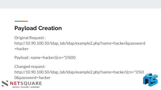 Payload Creation Original Request : http://10.90.100.50/ldap_lab/ldap/example2.php?name=hacker&password =hacker Payload : ...