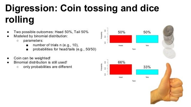 Digression: Coin tossing and dice rolling 50% 50% 33% 66% ● Two possible outcomes: Head 50%, Tail 50% ● Modeled by binomia...