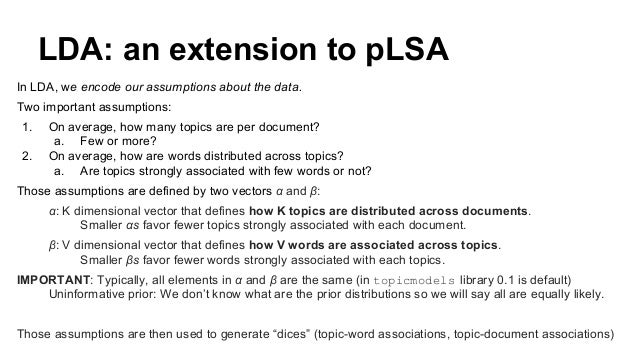LDA: an extension to pLSA In LDA, we encode our assumptions about the data. Two important assumptions: 1. On average, how ...
