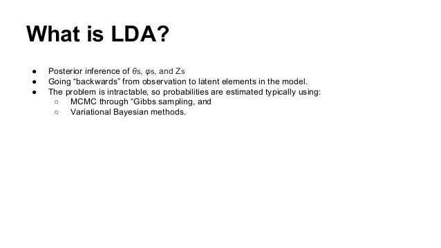 """● Posterior inference of θs, φs, and Zs ● Going """"backwards"""" from observation to latent elements in the model. ● The proble..."""