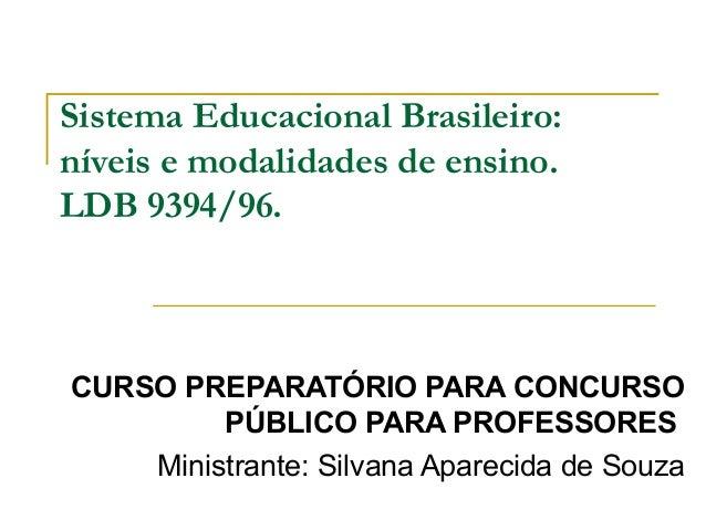 Sistema Educacional Brasileiro:níveis e modalidades de ensino.LDB 9394/96.CURSO PREPARATÓRIO PARA CONCURSOPÚBLICO PARA PRO...