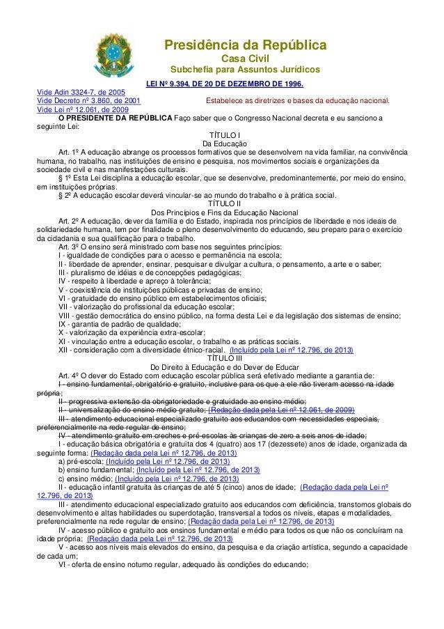 Presidência da República Casa Civil Subchefia para Assuntos Jurídicos LEI Nº 9.394, DE 20 DE DEZEMBRO DE 1996. Vide Adin 3...