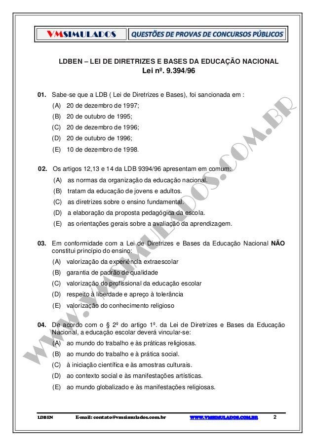 Ldb Lei De Diretrizes E Bases Da Educacao Nacional Simulado Digit