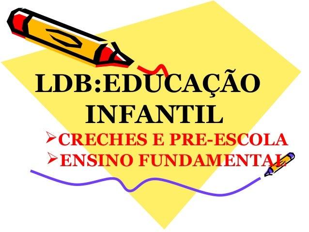 LDB:EDUCAÇÃO INFANTIL CRECHES E PRE-ESCOLA ENSINO FUNDAMENTAL
