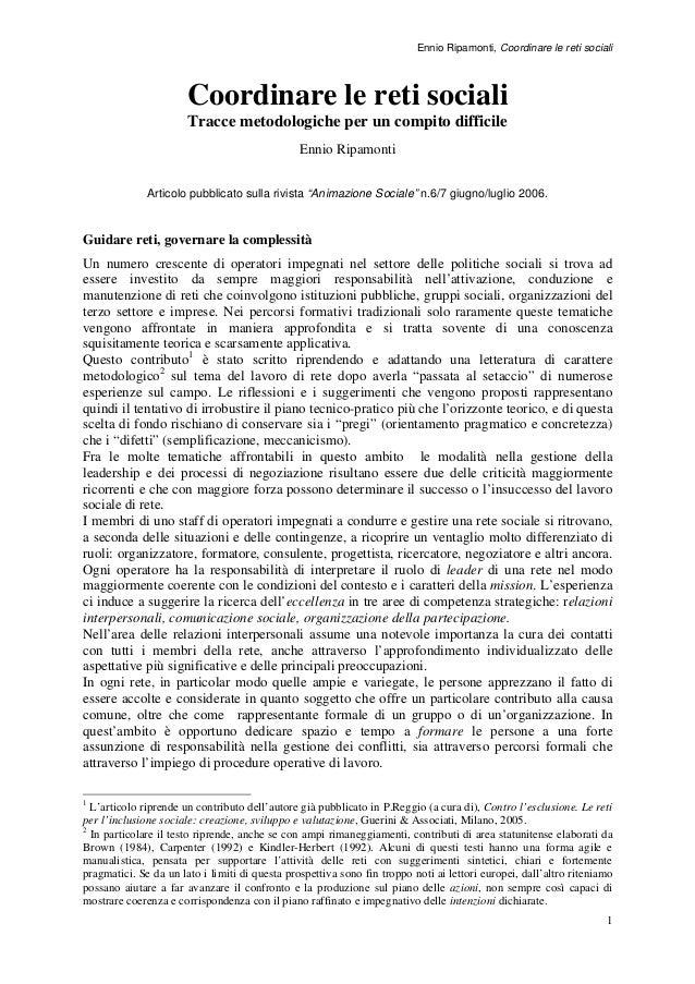 Ennio Ripamonti, Coordinare le reti sociali  Coordinare le reti sociali Tracce metodologiche per un compito difficile Enni...