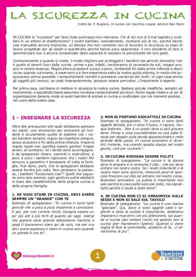 """LA SICUREZZA IN CUCINA tratto da: F. Buglioni, In cucina con mamma e papà, edizioni San Paolo  IN CUCINA le """"occasioni"""" pe..."""