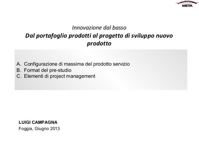 Innovazione dal basso  Dal portafoglio prodotti al progetto di sviluppo nuovo prodotto A. Configurazione di massima del pr...