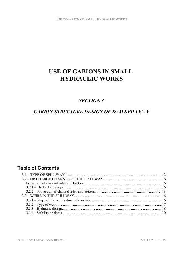 USE OF GABIONS IN SMALL HYDRAULIC WORKS  USE OF GABIONS IN SMALL HYDRAULIC WORKS  SECTION 3 GABION STRUCTURE DESIGN OF DAM...
