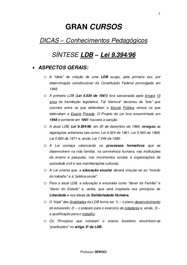 "Professor DEROCI  1  GRAN CURSOS DICAS – Conhecimentos Pedagógicos SÍNTESE LDB – Lei 9.394/96 ASPECTOS GERAIS:  o A ""idéia..."