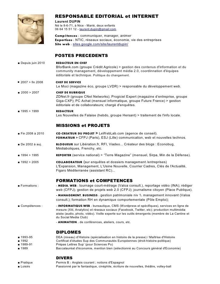 Gut gemocht CV laurent dupin responsable editorial et internet version 2012 YA41
