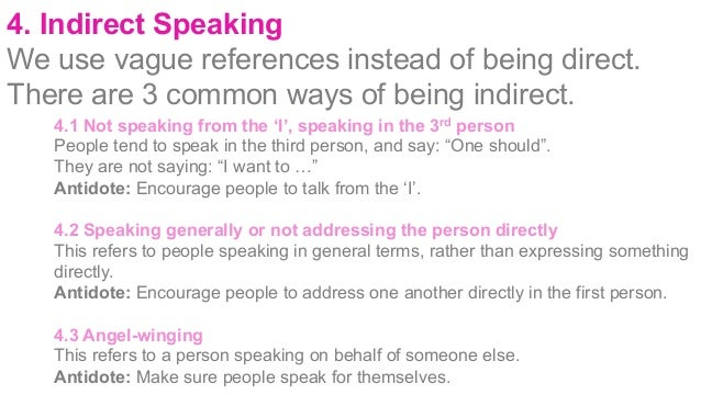 5. Sliding rather than Deciding Often conversations slides into different topics or change without people consciously agre...