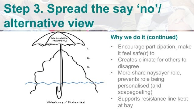 """v Step 3. Spread the say 'no'/ alternative view How When you hear a 'no' Simply ask """"does anyone else feel a bit like th..."""