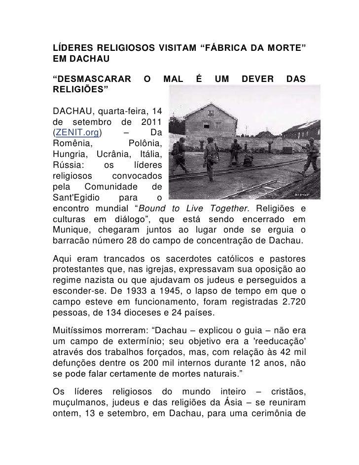 """Líderes religiosos visitam """"fábrica da morte"""" em Dachau<br />2514600243840""""Desmascarar o mal é um dever das religiões""""<br ..."""