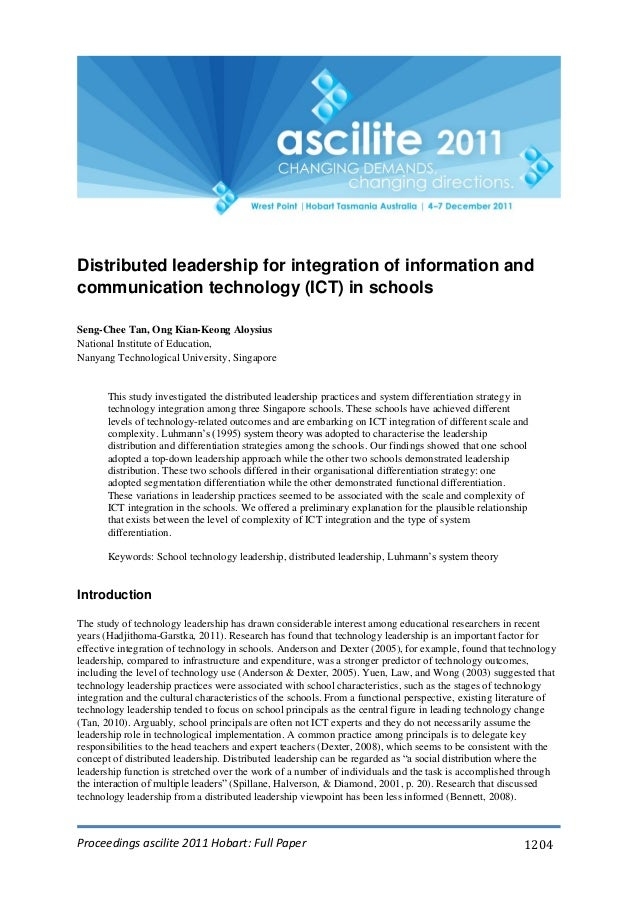 Proceedings ascilite 2011 Hobart: Full Paper 1204 Distributed leadership for integration of information and communication ...